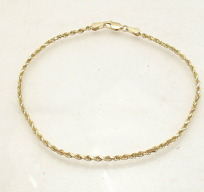 """9""""  2.50mm Twisted Rope Chain Ankle Bracelet Anklet Real Solid 14K Yellow Gold"""