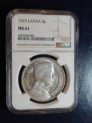 1929 Latvia Five Lati NGC MS61 5L Coin PRICED TO SELL NOW!
