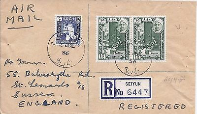 Aden and States 1956 registered airmail cover Tariba to England