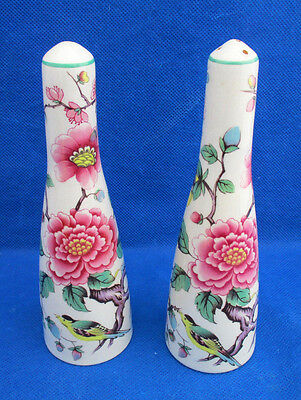 """Salt & Pepper Shakers Old Foley James Kent CHINESE ROSE New Stoppers 6"""" VGUC"""