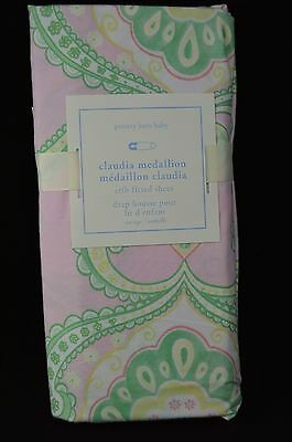 Pottery Barn Kids Baby Claudia Medallion Fitted Sheet Crib Pink Green Nursery