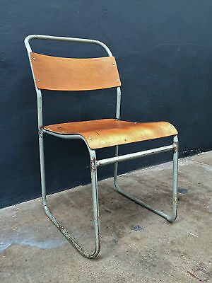 Vintage INDUSTRIAL COX PLYWOOD STACKING CHAIR.REMPLOY.retro school DELIVERY