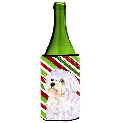 Maltese Candy Cane Holiday Christmas Wine Bottle Hugger 24 oz.