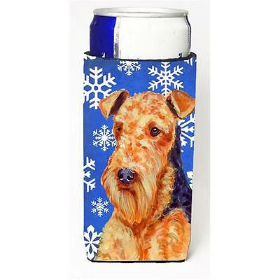 Airedale Winter Snowflakes Holiday Michelob Ultra bottle sleeves For Slim Can...
