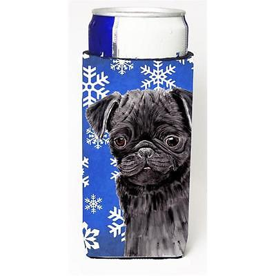 Pug Winter Snowflakes Holiday Michelob Ultra bottle sleeves For Slim Cans 12 oz.