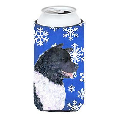 Akita Winter Snowflakes Holiday Tall Boy bottle sleeve Hugger 22 To 24 oz.