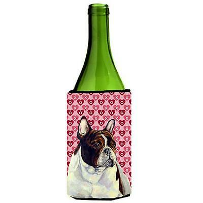 French Bulldog Hearts Love Valentines Day Portrait Wine bottle sleeve Hugger ...