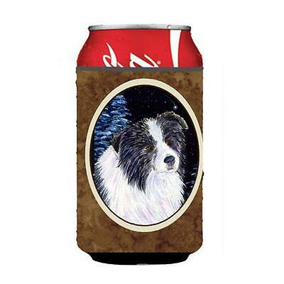 Starry Night Border Collie Can Or bottle sleeve Hugger 12 oz.