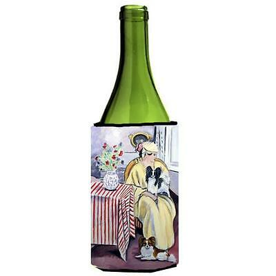 Carolines Treasures Lady with her Papillon Wine bottle sleeve Hugger 24 oz.