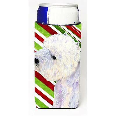 Westie Candy Cane Holiday Christmas Michelob Ultra bottle sleeves For Slim Ca...