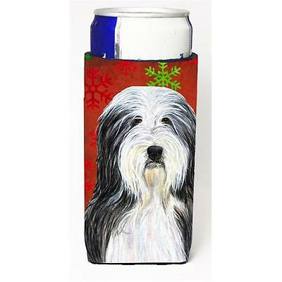 Bearded Collie Red And Green Snowflakes Holiday Christmas Michelob Ultra bott...