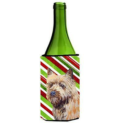 Cairn Terrier Candy Cane Holiday Christmas Wine bottle sleeve Hugger 24 oz.