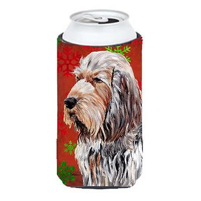 Otterhound Red Snowflakes Holiday Tall Boy bottle sleeve Hugger 22 To 24 Oz.