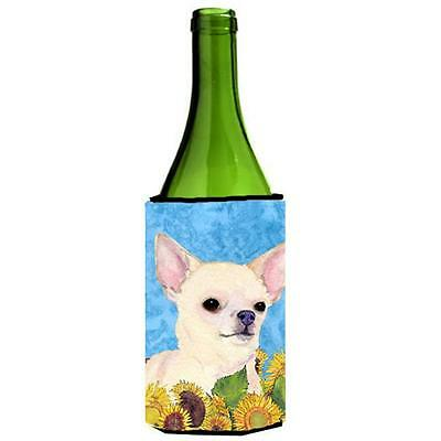 Carolines Treasures Chihuahua In Summer Flowers Wine bottle sleeve Hugger 24 Oz.