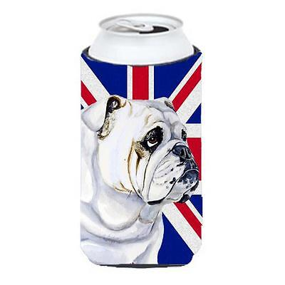 English Bulldog With English Union Jack British Flag Tall Boy bottle sleeve H...