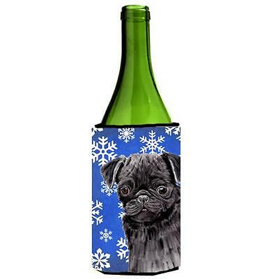 Pug Winter Snowflakes Holiday Wine bottle sleeve Hugger 24 oz.