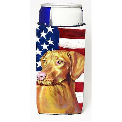 USA American Flag with Vizsla Michelob Ultra bottle sleeves for slim cans 12 oz.