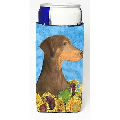 Doberman In Summer Flowers Michelob Ultra bottle sleeves For Slim Cans 12 oz.