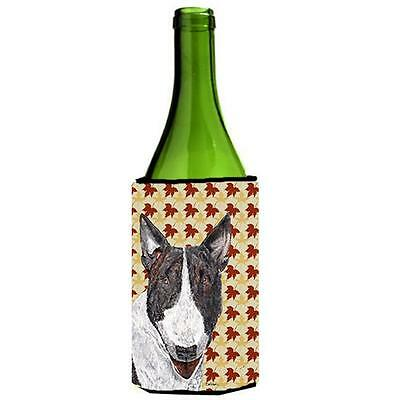 Carolines Treasures Bull Terrier Fall Leaves Wine bottle sleeve Hugger