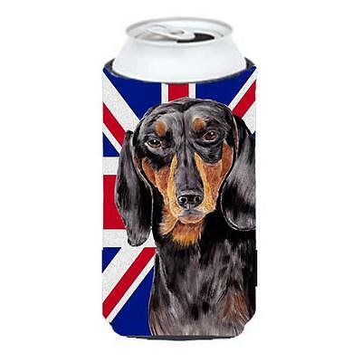 Dachshund With English Union Jack British Flag Tall Boy bottle sleeve Hugger ...