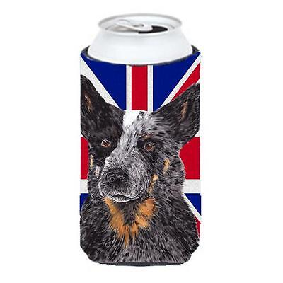 Australian Cattle Dog With English Union Jack British Flag Tall Boy bottle sl...