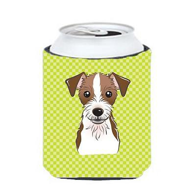 Checkerboard Lime Green Jack Russell Terrier Can Or Bottle Hugger, 12 Oz.