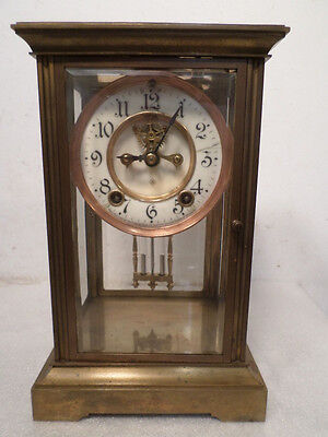 Ansonia Brass Case 1900 Visible Escapement Crystal Regulator