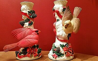 Danbury Mint Pair of Cardinal Candle Sticks~~Winter Enchantment