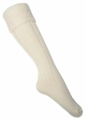 Bargian Ladies CREAM KNEE HIGH Socks Wool Blend Walking