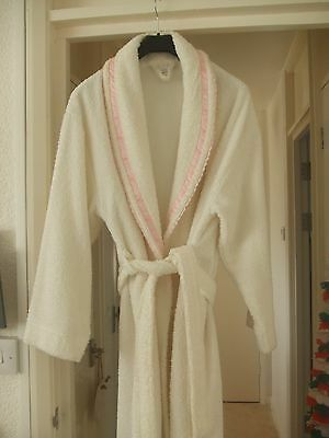Ladies soft white/cream  toweling dressing gown, size 12-14