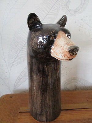 Ceramic Brown-Black Bear  Large Vase By Quail Ceramics Boxed Great Gift