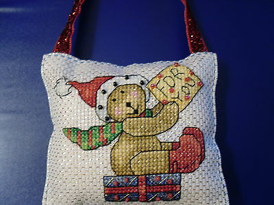 completed Large christmas cross stitch decoration, teddy with beading