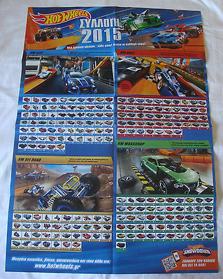Hot Wheels 2015 checklist, large poster (27 X 38 inches), Greek Edition, New