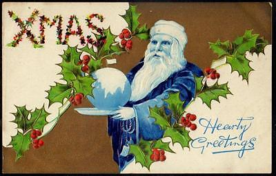 Christmas Vintage Embossed PPC 1909 - Santa in Blue Robes with Christmas Pudding