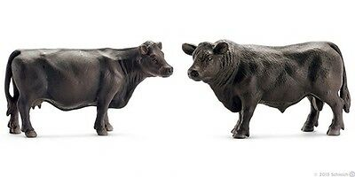 New Schleich 13766 / 13767 - Black Angus Bull + Cow Figures  FREE UK DELIVERY !