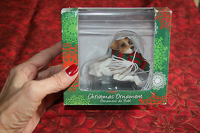 Sandicast Jack Russell Terrier w Plaid Scarf Christmas Ornament