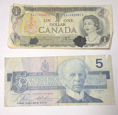 Bank of Canada 5 Five Dollars and One Dollar Banknotes 1986 1973