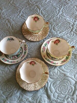 Four Old Cups And Saucers Bone China Queen Anne and Grovoenor