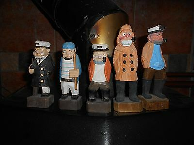 Collectionof 5 carved wooden figures nautical seaman, sailor,fisherman
