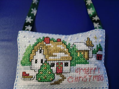 completed Large christmas cross stitch decoration, snowy cottage with beading