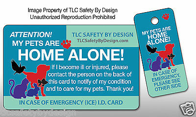 PETS EMERGENCY ICE CARD Dog Cat Home Alone Alert Contact ID Plastic Card Key Tag