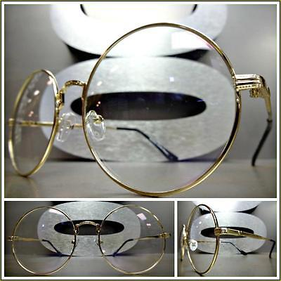 New CLASSIC VINTAGE RETRO Style Clear Lens EYE GLASSES Round Gold Fashion Frame