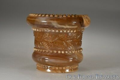 ca. 1903 No. 450 HOLLY Indiana Tumbler & Goblet GOLDEN AGATE (DRK) Sm Toothpick