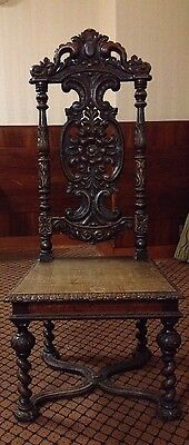 Pair of Victorian Antique Blackened Oak Carved Side Hall Chairs