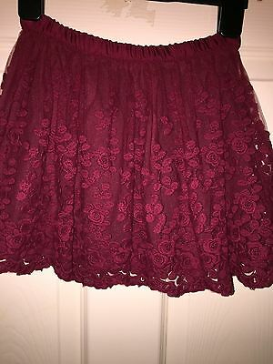 Zara Girls Lacy Skirt 7/8 Years Bugandy Colour