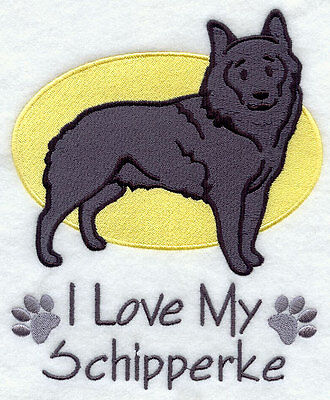 I Love My Schipperke Dog SET OF 2 HAND TOWELS EMBROIDERED