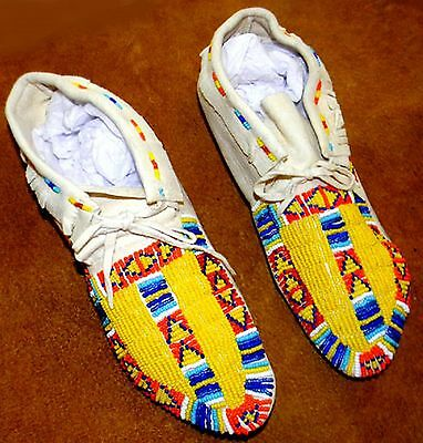 "Vintage Antique 9.75"" Native American Sioux Indian Beaded Moccasins"