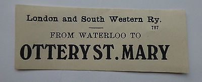 London & South Western Railway Luggage Label From Waterloo To Ottery St. Mary
