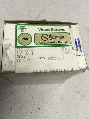 1 Inch X # 12 OVAL HEAD  BRASS SLOTTED WOOD SCREWS-100 PER BOX New!! HILLMAN
