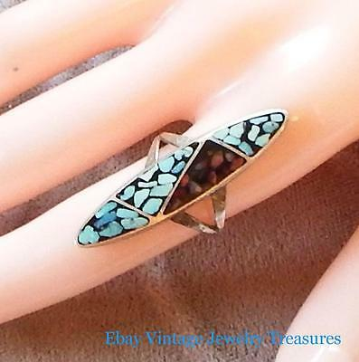 Vintage Native American Sterling Inlay Turquoise Chip Ring Size 6